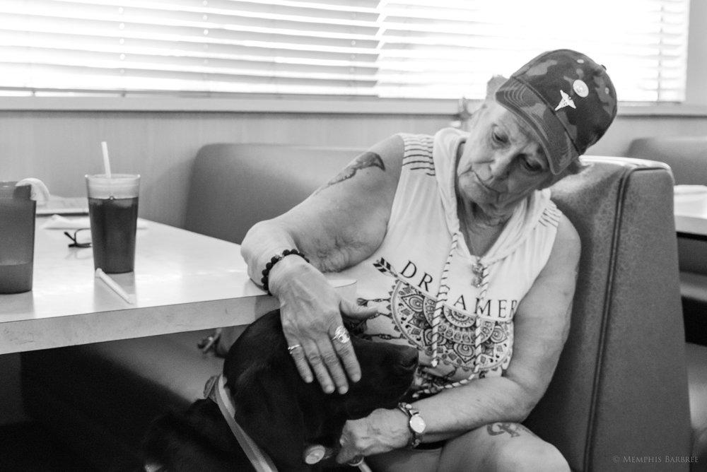 Kathleen Ventura-Herrera and her service dog,Dixie Doodle.