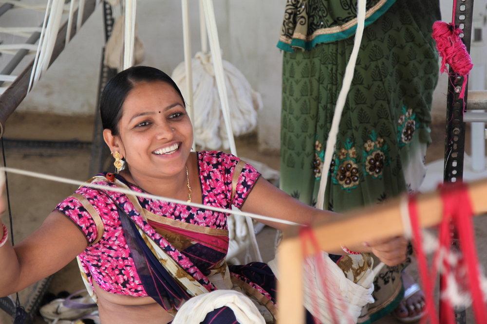 MIRTH artisan setting up a handloom