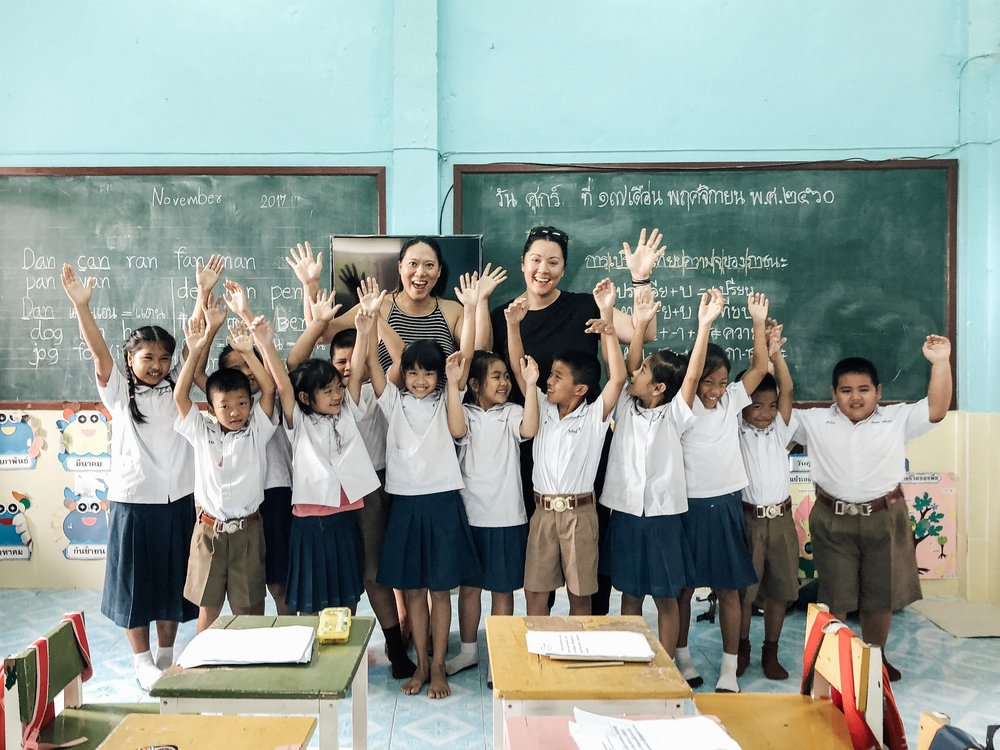 Sea & Grass Founder Pam Corbett with students from the Areeya Scholarship Fund in Northern Thailand  SEA & GRASS