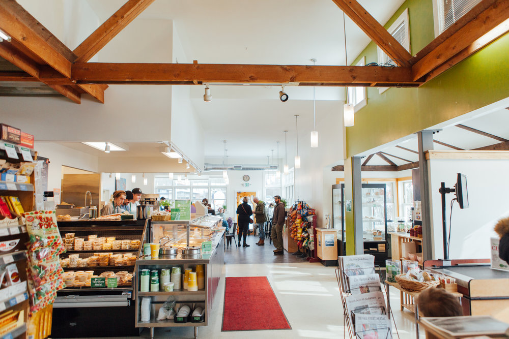 Our brand new Cafe and Deli is light and spacious, making it easy to relax with a book and your favorite sandwich or shop the prepared foods coolers!