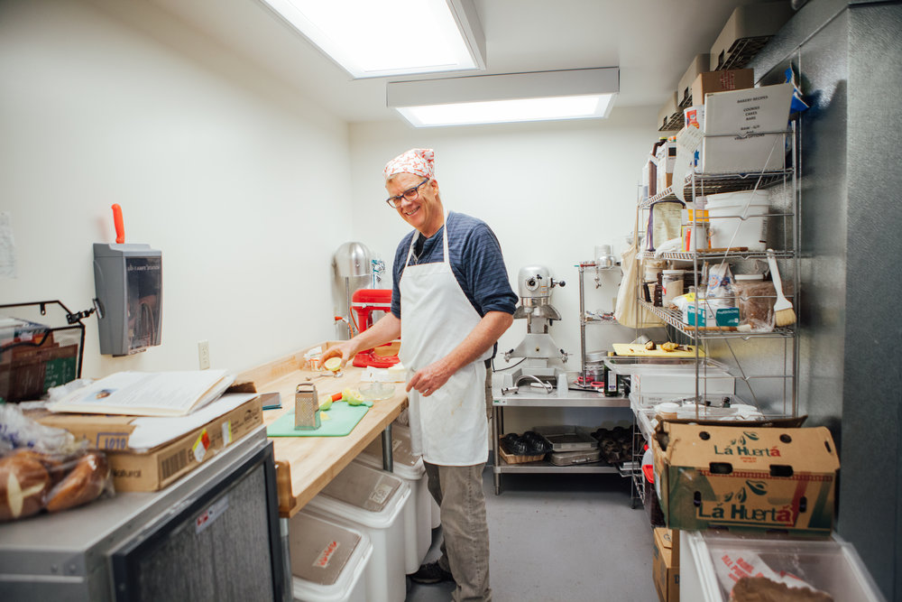 Kevin prepares some lemony treats in the new baking room!