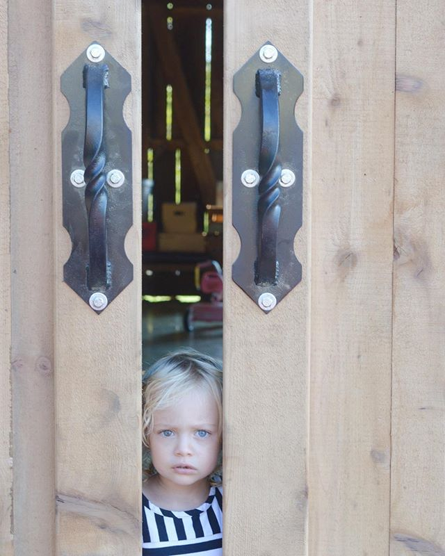 Close up of the hand-forged iron handles on western red cedar barn doors (and a little cutie peeking out).