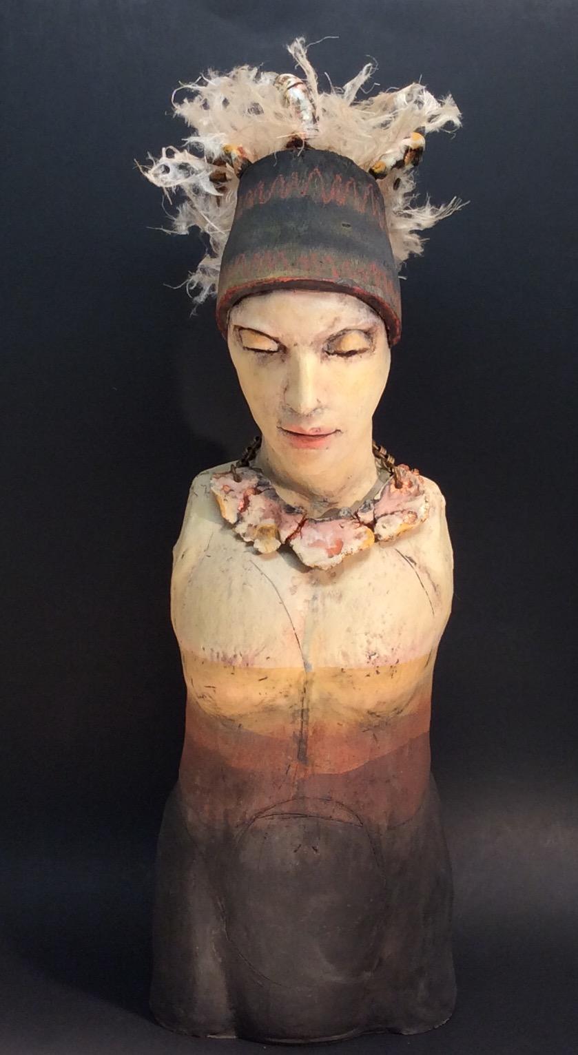 Figural Ceramic Bust - Sculpture