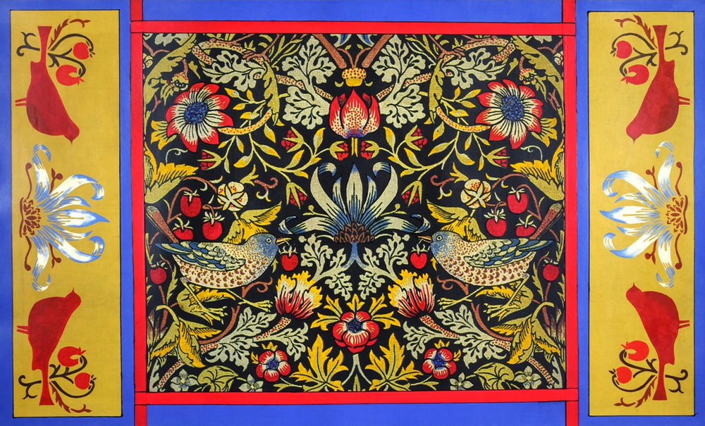 Colorized Fabric Collage floorcloth using William Morris print.