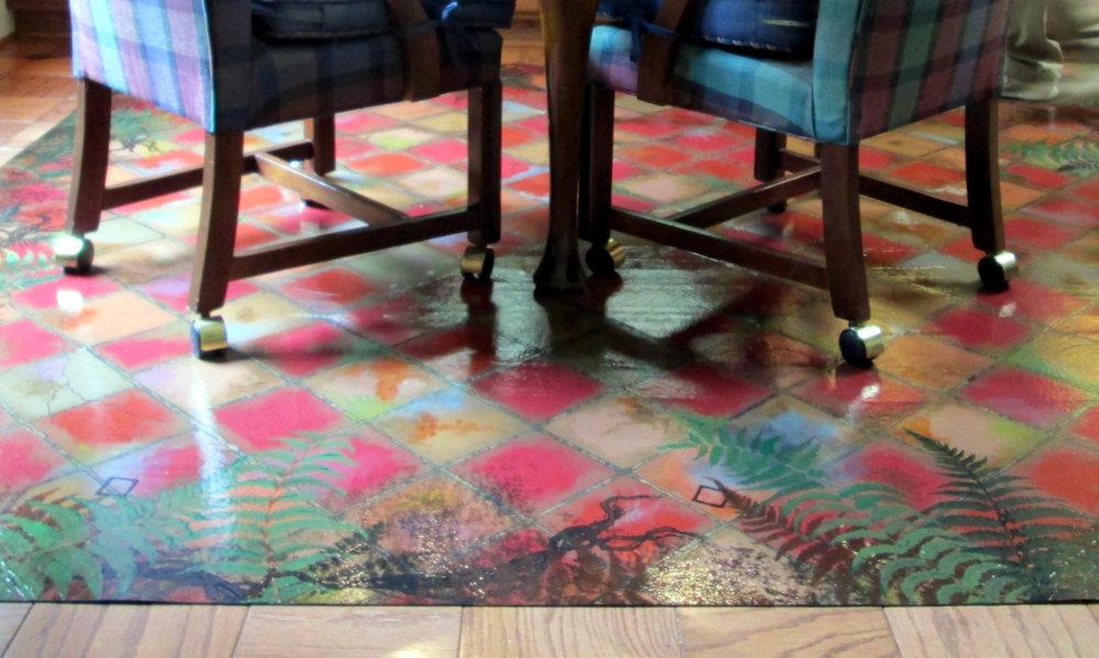 Painted floorcloth 8' x 8'