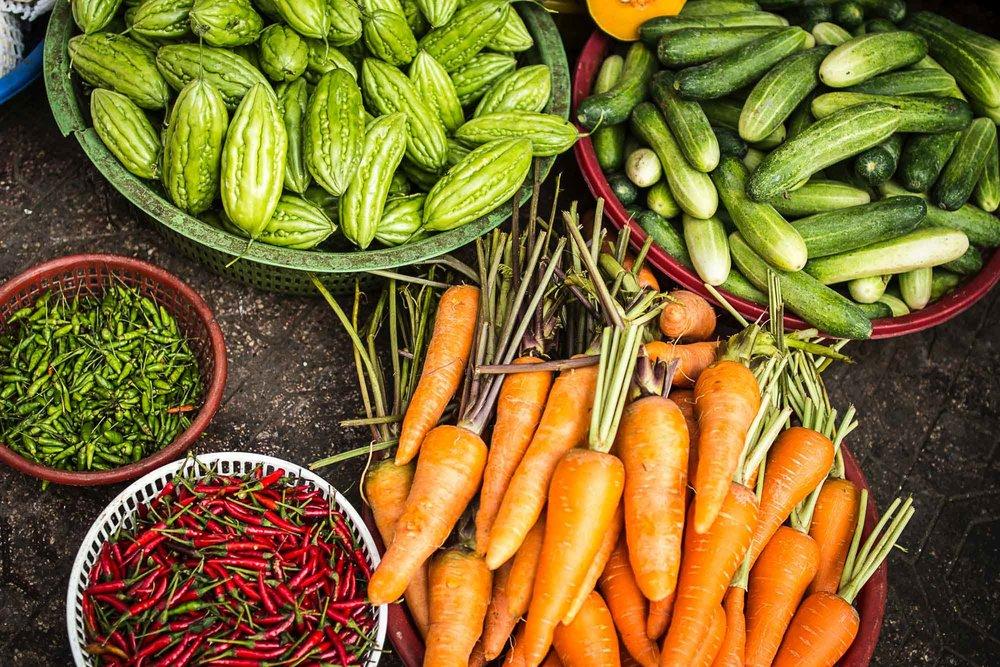 Fresh Vegtables - CarrotsBroccoliCeleryCucumberRadishesCorn