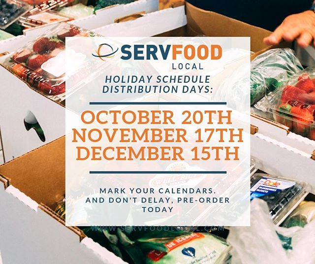 Don't forget, our SFL Distribution Day dates have changed. See the schedule below and mark your calendars!  www.servfoodlocal.com  #food #freshfood #freshproduce #life #morethanfood #foodfirst #feedingtheworld #endhunger #foodnonprofit #foodaccess #humanitarian #serv #local #localoutreach #global #globalmissions #millionsofmeals #giveback #changetheworld #share #sustainability #nutrition #superfood #worktogether #hopeforthehungry