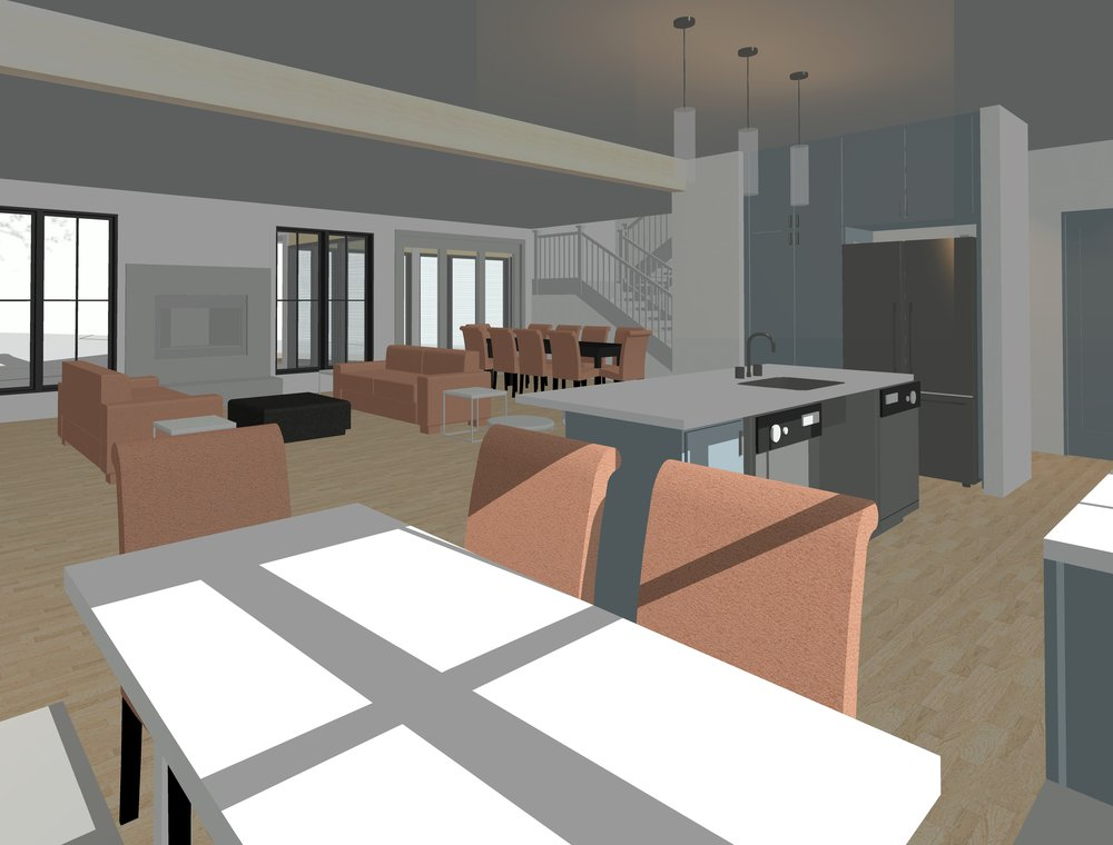 Rendered view of Living and Dining Rooms from the Breakfast Nook