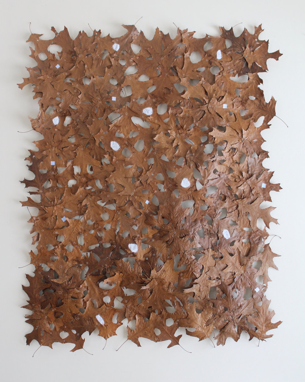 "THE WILD AND WONDERFUL MAKE DO, oak leaves, thread, fabric remnants, gesso, oil stain, 48"" x 60"""