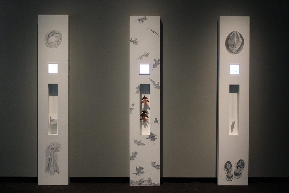 Installation view of THIS TRANSITORY LIFE, I, II and III