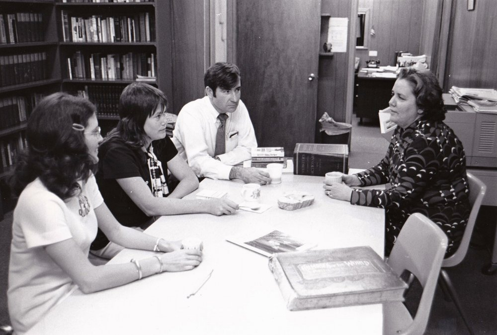 '72 Sharon Rodi, Tina Harper, Floyd McLamb, and Dr. Alice Geoffray at the Adult Education Center