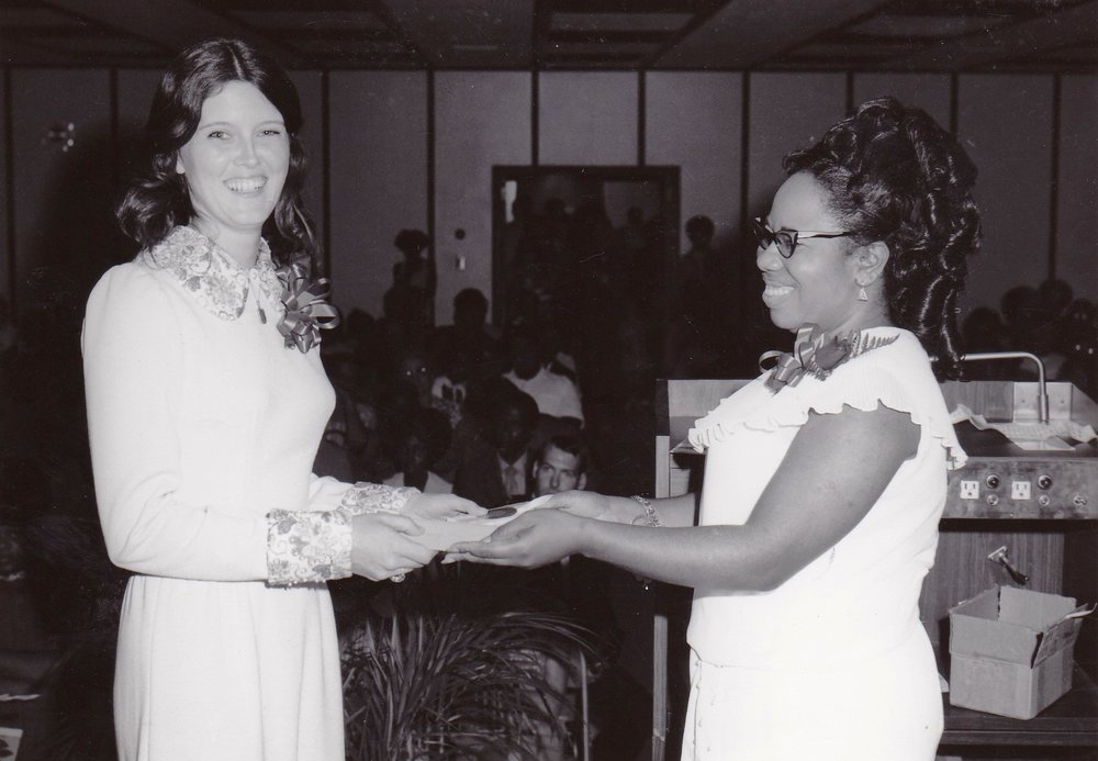 '72 Sharon Rodi with Lucille Le'Obia at an Adult Education Center graduation