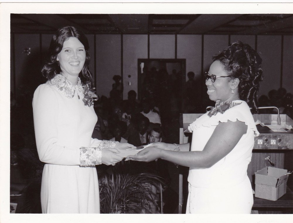 '72 Sharon Rodi with Lucille Le'Obia at an AEC graduation
