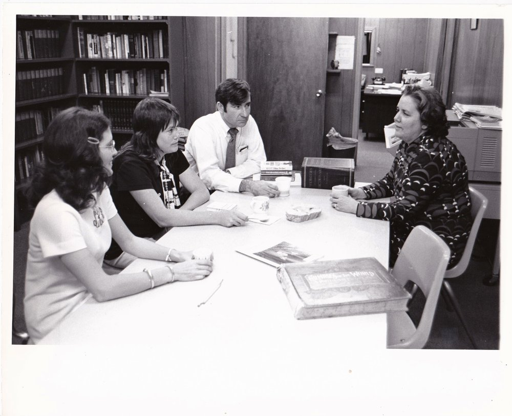 '72 Sharon Rodi, Tina Harper, Floyd McLamb, and Dr. Alice Geoffray at the AEC