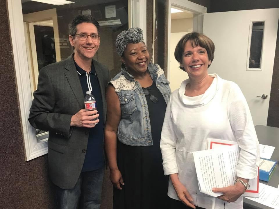 Jeff Geoffray, Connie Payton-Nevels (Class of '70), and Jeanne Geoffray on WBOK Radio