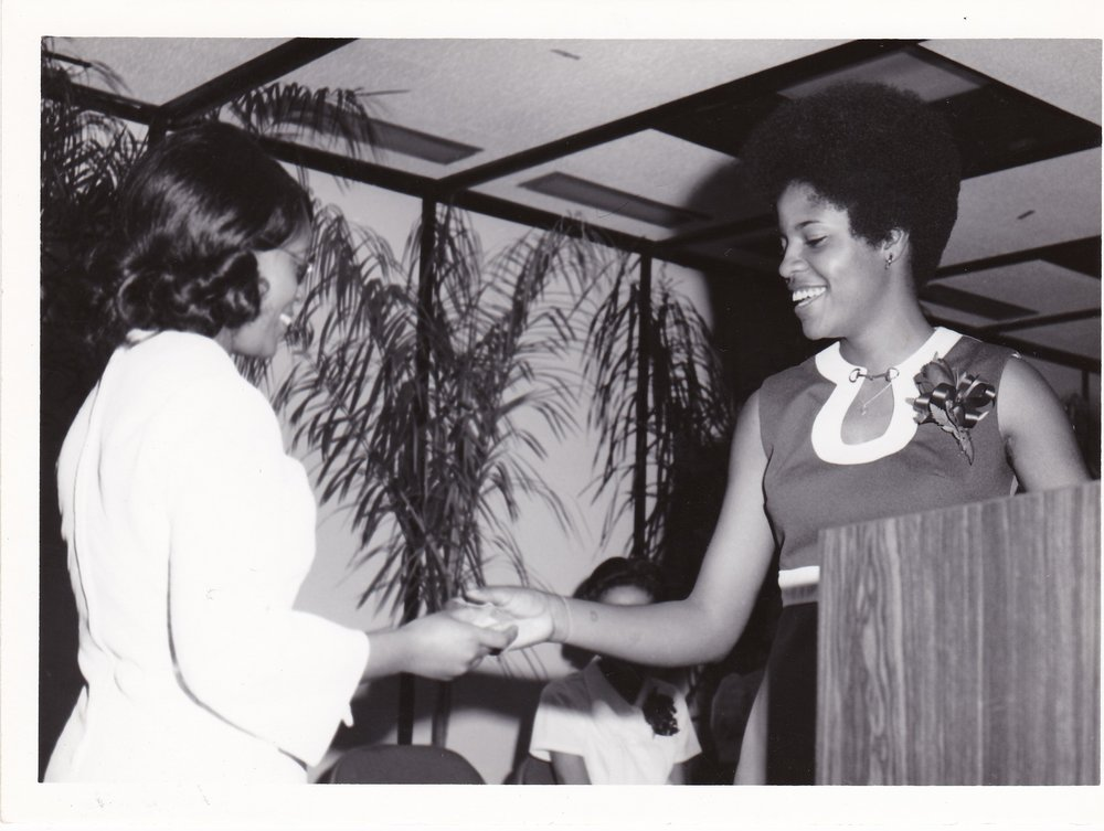 AEC Class of '72 student (left) with L. Vee McGee (right), 1972.