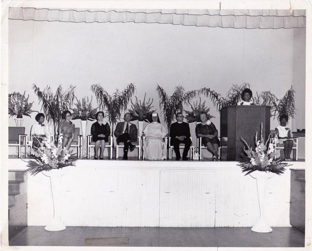 '67 Gloria Dean Boss, Louise Schneider, Alice Geoffray, CJ Dugas, Sr. Louise, Father Gibbons, Augusta Clauson, Arlene Hamilton, Evelyn Jones
