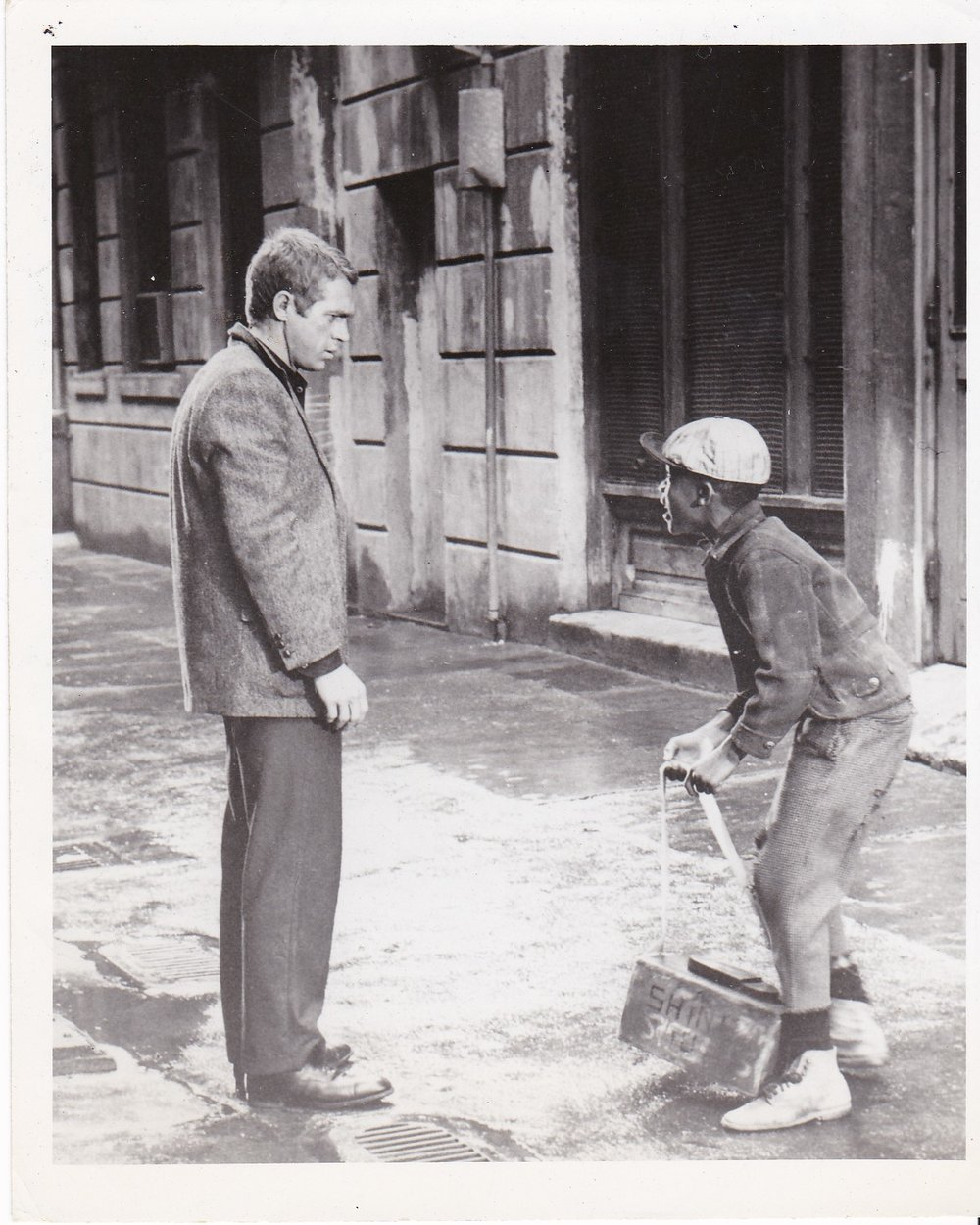 Steve McQueen with Kenneth Grant (Cleo Grant's son) as a Shoe Shine Boy in The Cincinnati Kid (1965 Movie)