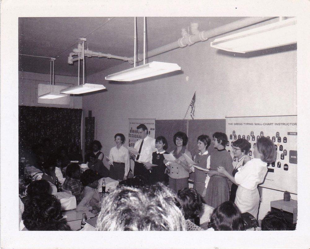 '67 Dolly Brien, Bruce Long, Ms. Thornton, Sharon Engen, Sharon Rodi, Betty Edwards, Audrey Cullen