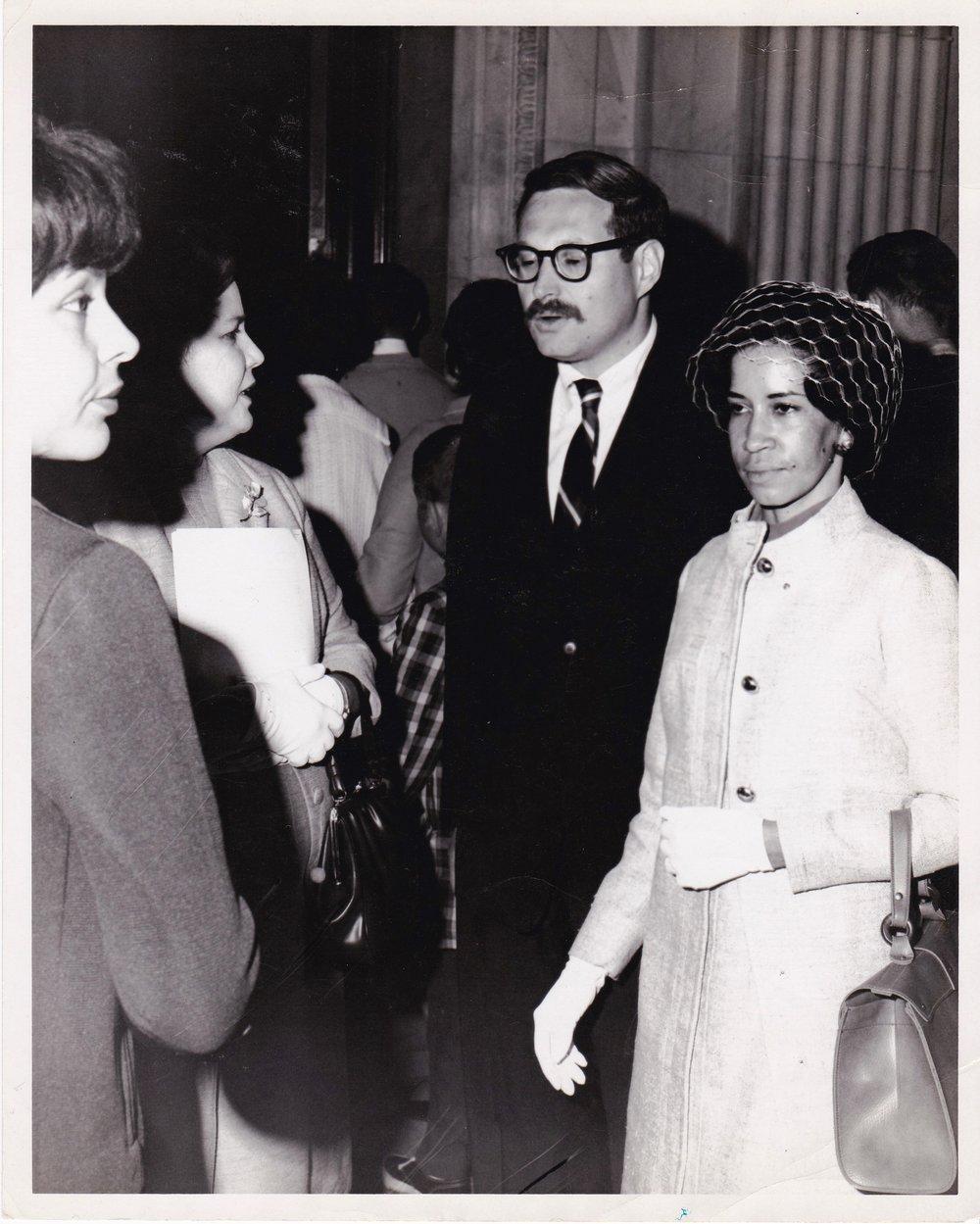 Senate Subcommittee Hearing in 1968, Patricia Morris '67, Alice Geoffray, Stephen Ebbins, Thyra Johnson '66