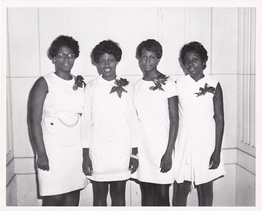 '70 Rose Franklin, L. Vee McGee, Brenda Chapman and Sheila Green