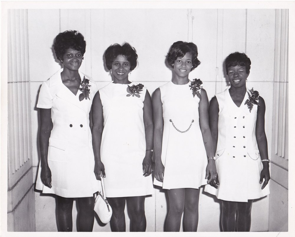 '70 Geraldine Smith, Shirley Jefferson, Joyce Bryant, and Janell Charles
