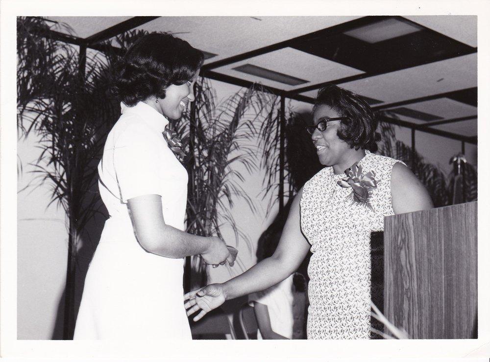 '72 Charlene Lewis '72 and Bernadine Irving '66