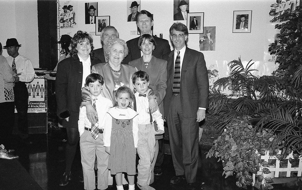 Alice Geoffray and family at YWCA award reception, 1995