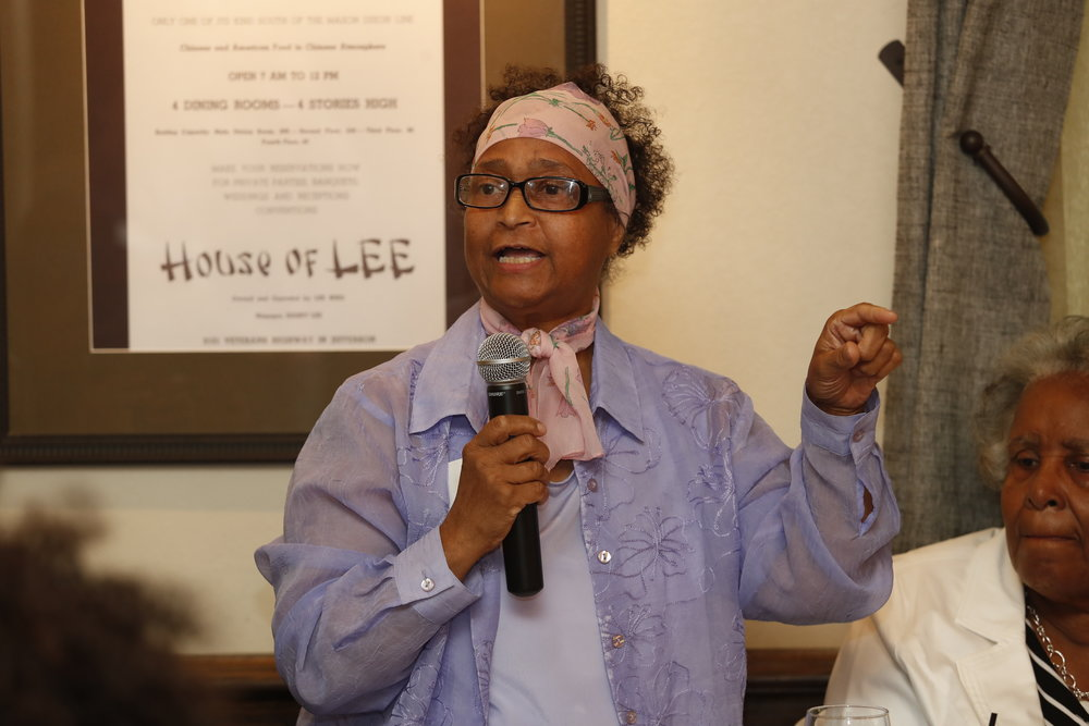 Cheryl Tyler Golson speaking at the Adult Education Center Reunion, 2018