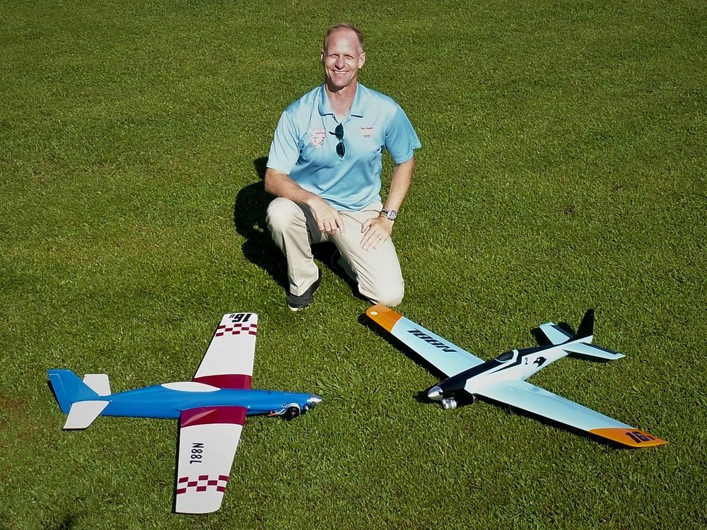 Timothy Lampe and two of his pylon racers.