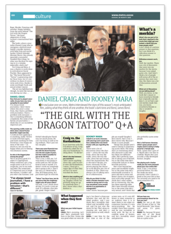 The Dragon Tattoo: 49,000 media outlets picked up our Rooney Mara Interview, including PerezHilton, Vulture, and Huffington Post