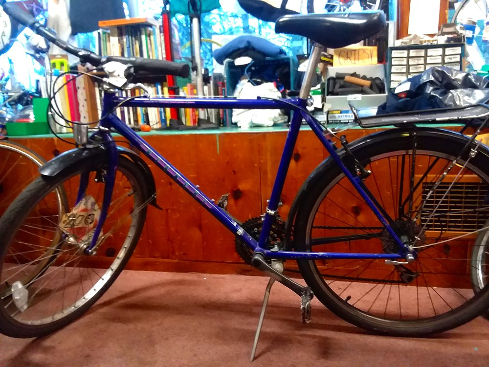 Image of a purple road-bike with rack in front of a long display and work-bench that is hosting books, t-shirts, and various bike accessories/parts/tools. Image was taken by the author of this post at our SE Powell bike shop.