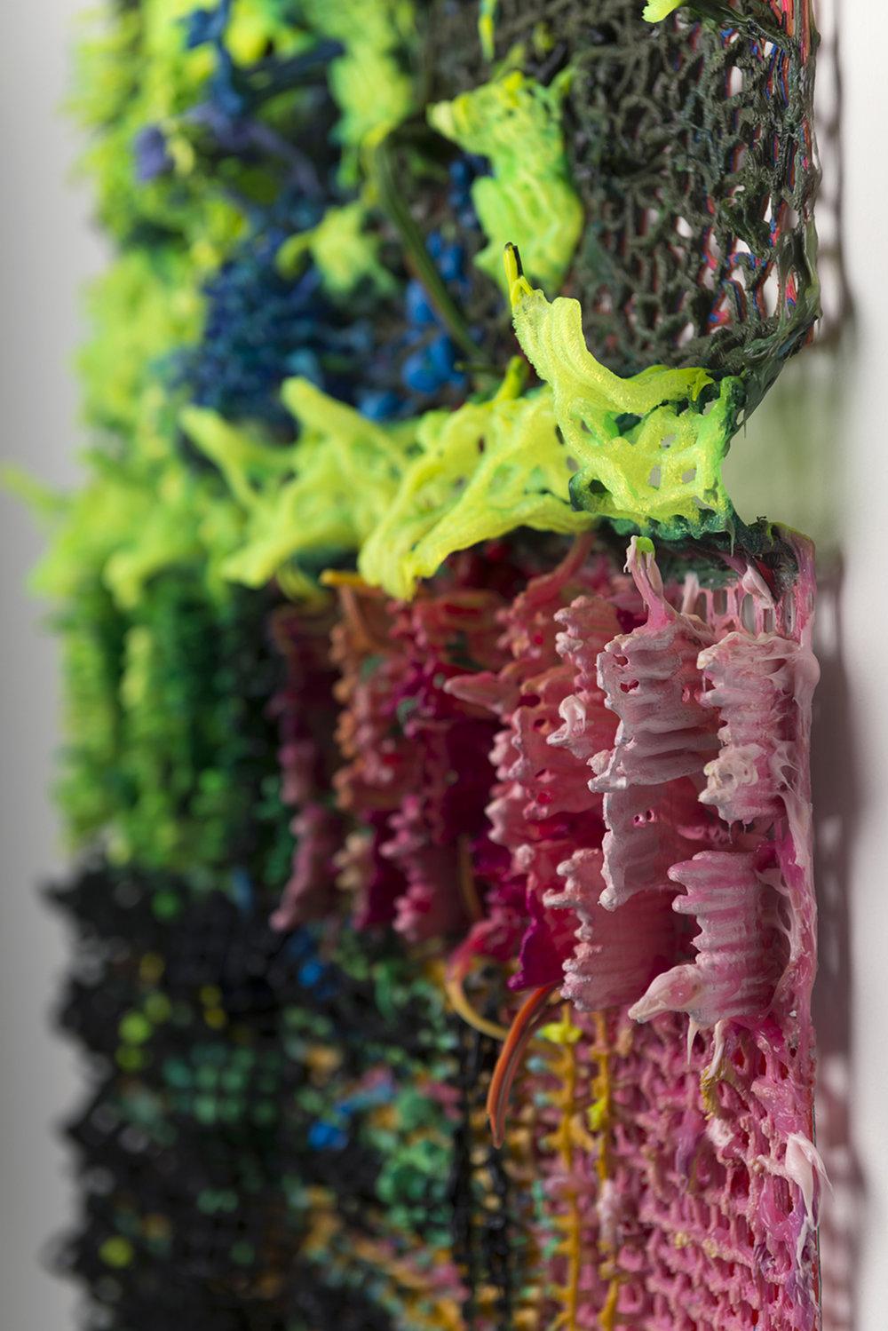 "Ready-grown Paintant, 2017 (detail)  w. 80cm x h. 80cm x d. 10cm | w. 30"" x h. 30"" x d. 4.5""  3D printed plastic, alkyd paint, silicone"
