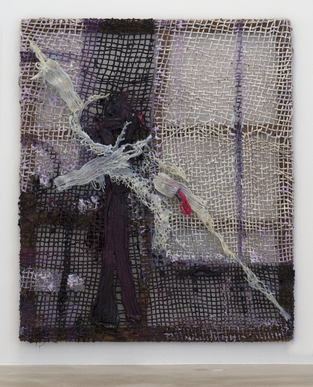 """Ghost Paintant, 2017  w. 82 x w. 97"""" d 7""""   Hand woven manilla rope, climbing rope, alkyd paint, silicone, wood, 3D printed plastic"""