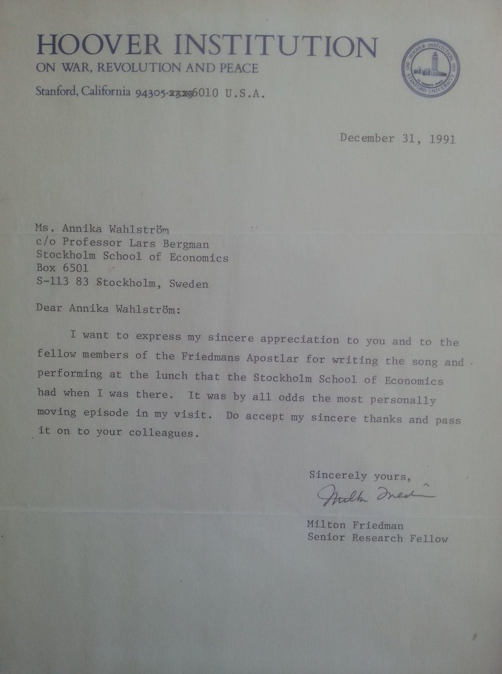 Brevet från Professor Milton Friedman som tack för den egenskrivna sången som framfördes.