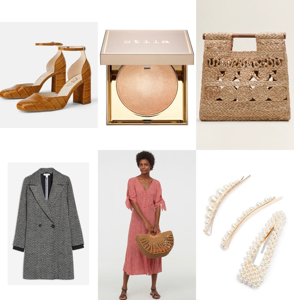 Weekly picks: - New items that are currently in my wishlist!1. Leather Animal Embossed Heeled Shoes2. Stila Heaven's Hue Highlighter in Brilliance3. Jute Handbag4. Herringboat Coat5.Creped Dress6.Faux Pearl- Embellished Hair Clip Set