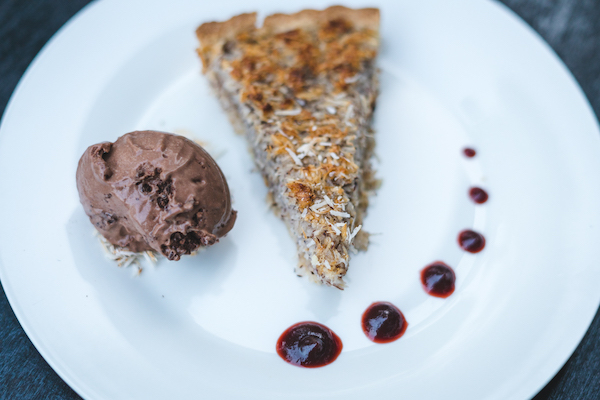 Coconut pie with a chocolate ice cream scoop - IYA's delicious homemade coconut pie with chocolate icecream
