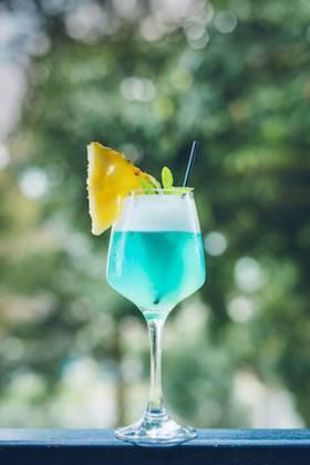 Sea Breeze  - Gin, simple syrup, lemon juice, electric, egg white