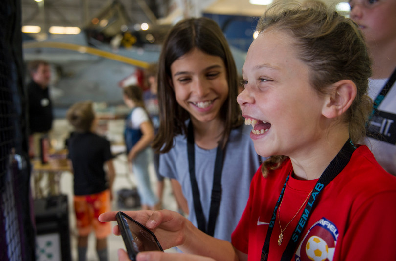 STEM Lab School seventh grade student Sydney Webster flies a DJI Tello drone during an open house to launch a first-ever Drone Project Friday, Sept. 7, 2018 at Wings Over the Rockies Air & Space Museum.