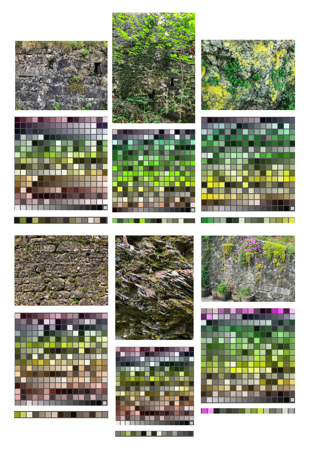 Color Palettes - Color variations were observed using both 256 and 16 colors.. From far away most of the rocks appear to be brown, but brown hues are just a piece of the rock walls' color palette.