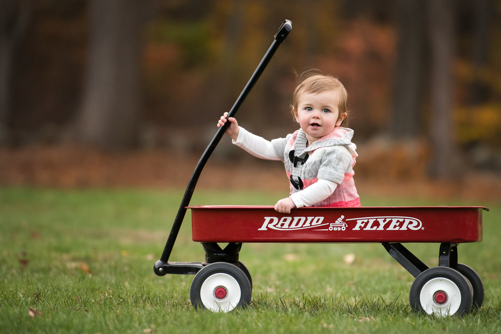 Baby Girl in Radio Flyer Photo Session