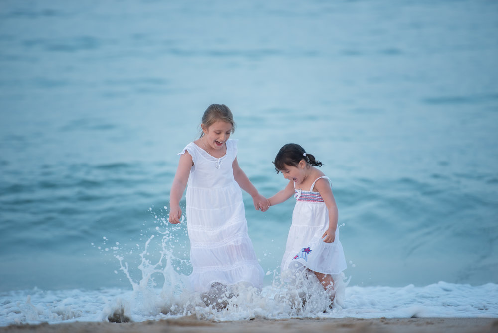 Girls Playing in Water in Wellfleet Cape Cod