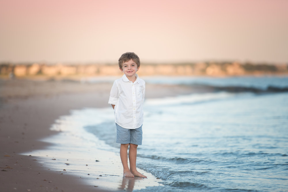 Boy Standing by the Water Beach Cape Cod Chatham MA