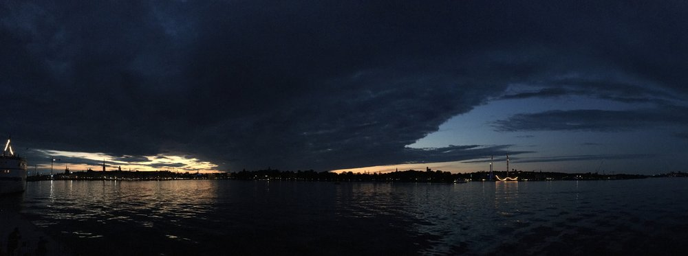 A Cloudy Stockholm Approaching Midnight