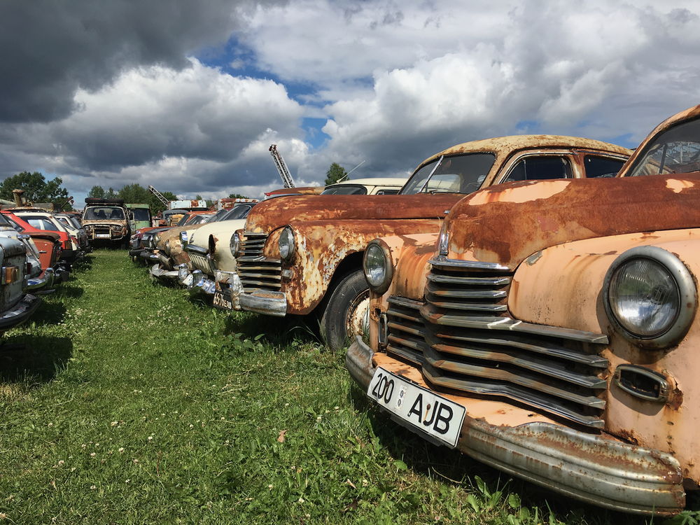 A car graveyard outside Tallinn, Estonia