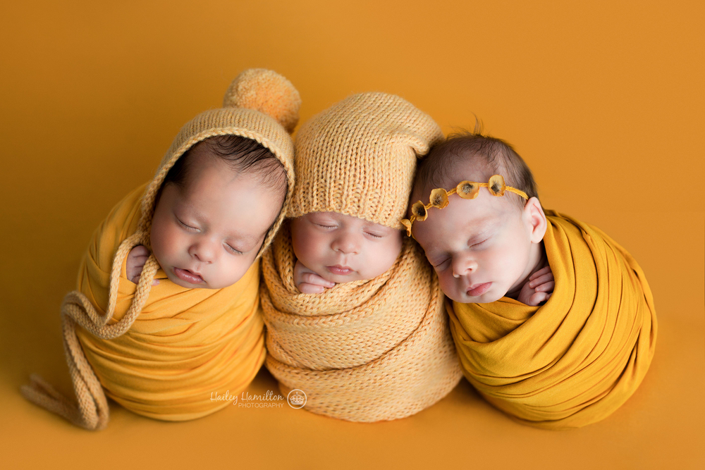 Boy & Girl Newborn Triplets Wrapped Up