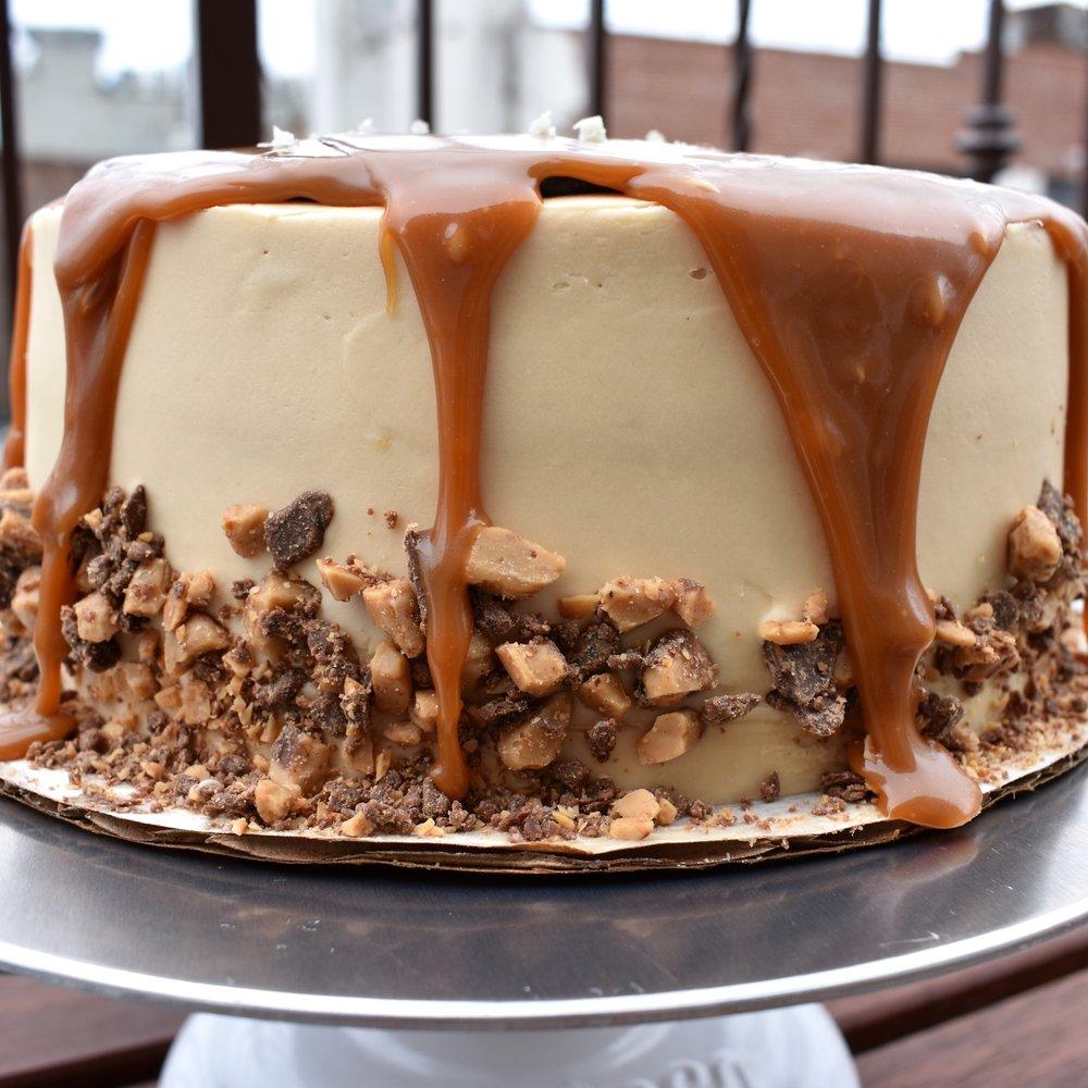 the Caramel Heath Bar Cake