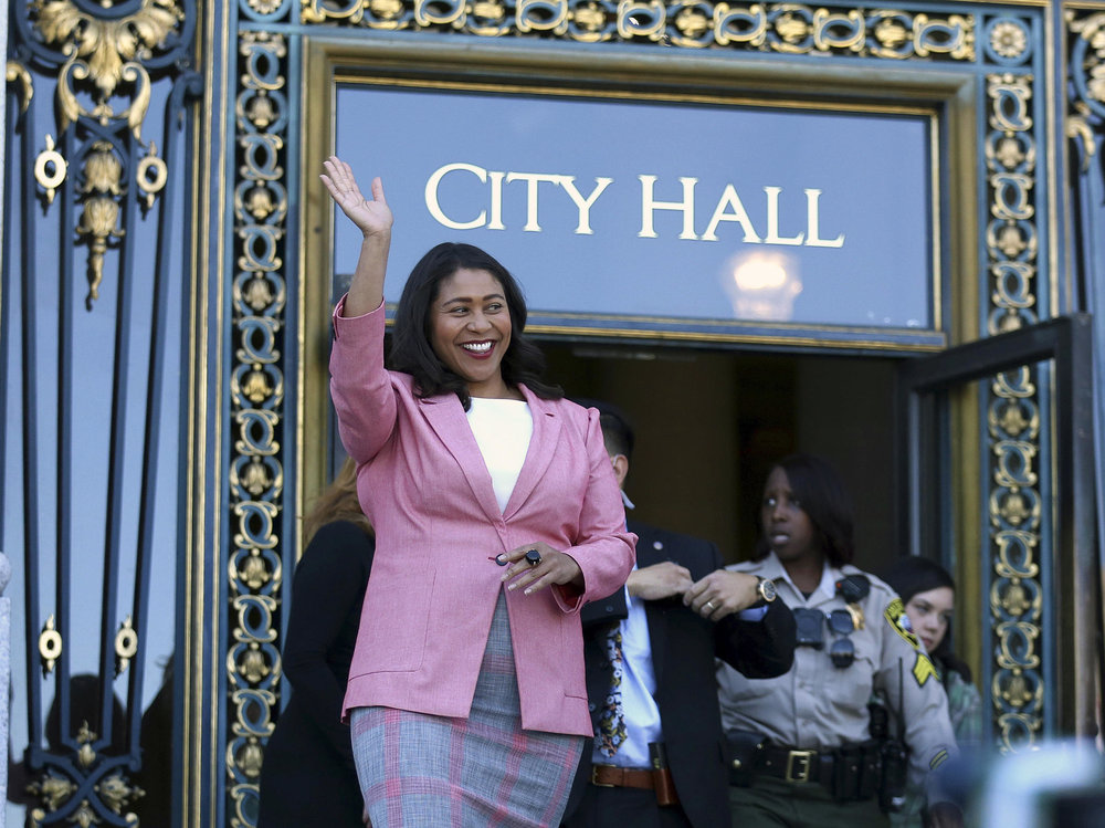 London Breed greets reporters before giving her first speech as mayor-elect on June 13.  Photo by Lorin Eleni Gill.
