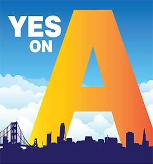 Campaign logo for Yes on Proposition A, Strengthen the Seawall.