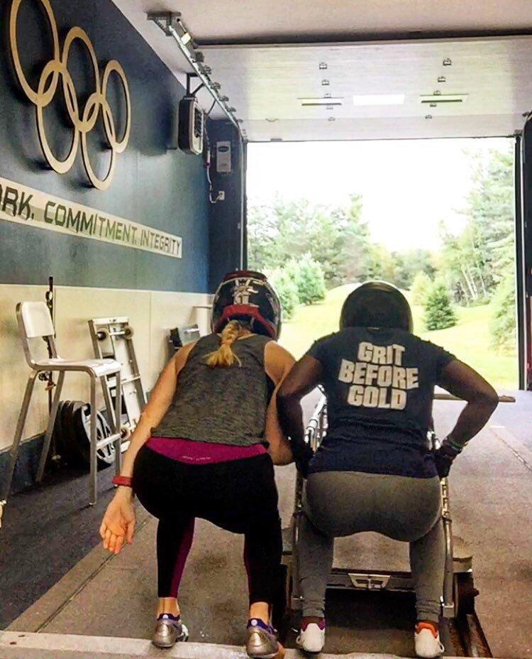 Offseason push training on dry land helps athletes practice sled loading.